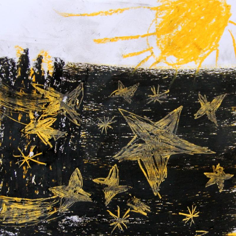 gemalter Sternenhimmel mit Sonne
