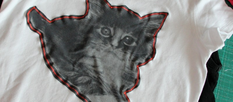 Katze auf T-Shirt nähen - Applikation