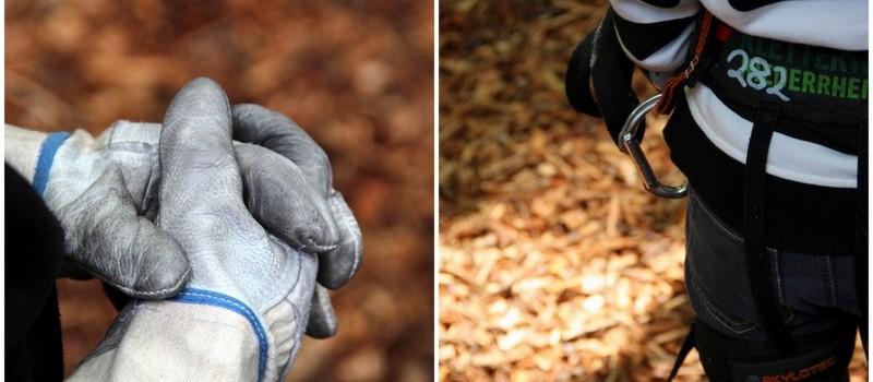 Handschuhe und Klettergurt - Schutzausrüstung