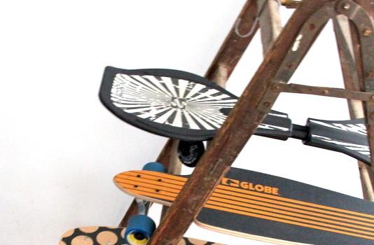 Longboardständer - alte HolzleiterLongboardständer - alte Holzleiter
