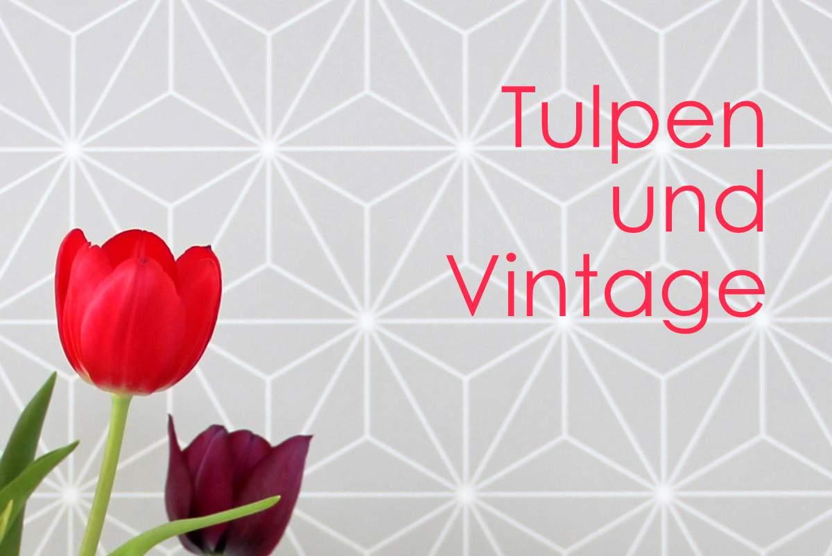 bunte Tulpen im Glas, Veilchen und Vintage Kuchenform von Dr. Oetcker aus Blech