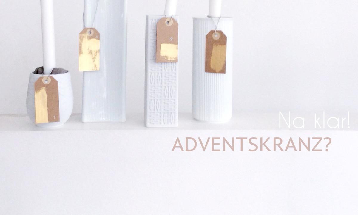 alternativer Adventskranz DIY, Kerzenständer aus vintage Vasen, Geschenkanhänger selber machen mit Gold